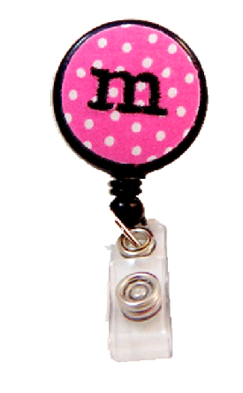 Pink Polka Dot Badge Reel